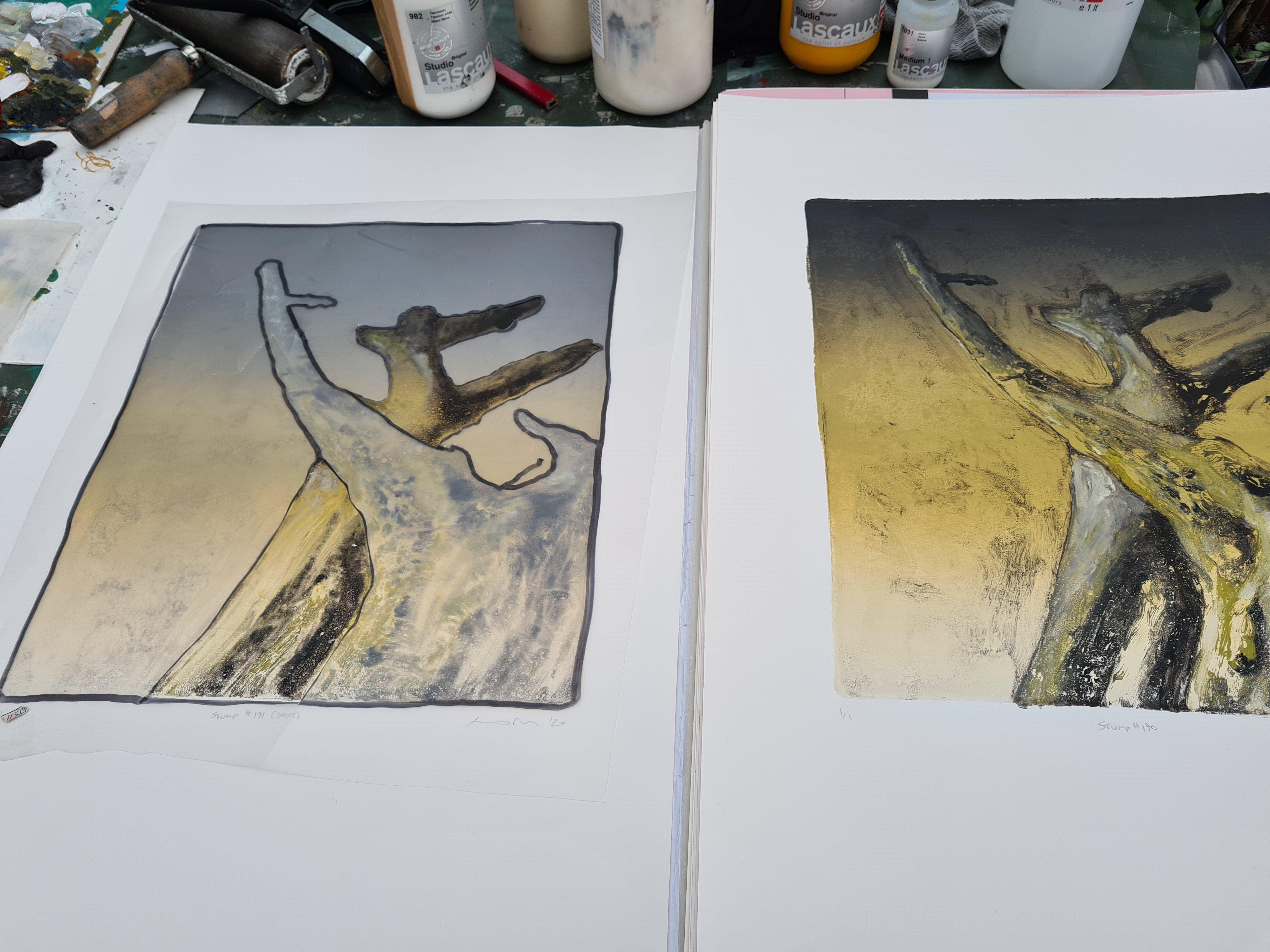 Stump #190, & Stump #191, in progress in the Studio